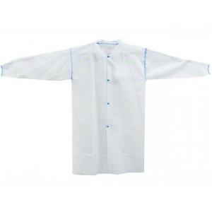 521 | CARE, 25 GSM Polypropylene Labcoat, 4 Snap Closure, Elastic Wrists, No Pockets 1/BG, 50/CS