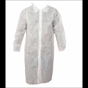 602X | Labcoat, 35 GSM, Polypropylene Labcoat, Snaps, Elastic Wrist, No Pockets, 1/BG, 50/CS